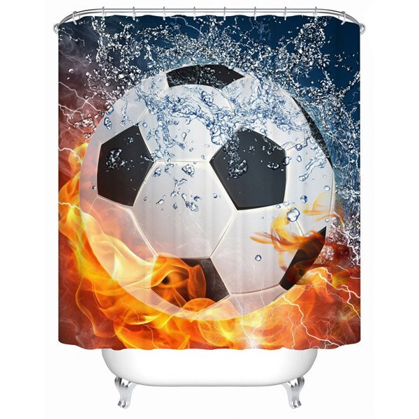 Amazing Showy Fiery Football 3D Shower Curtain