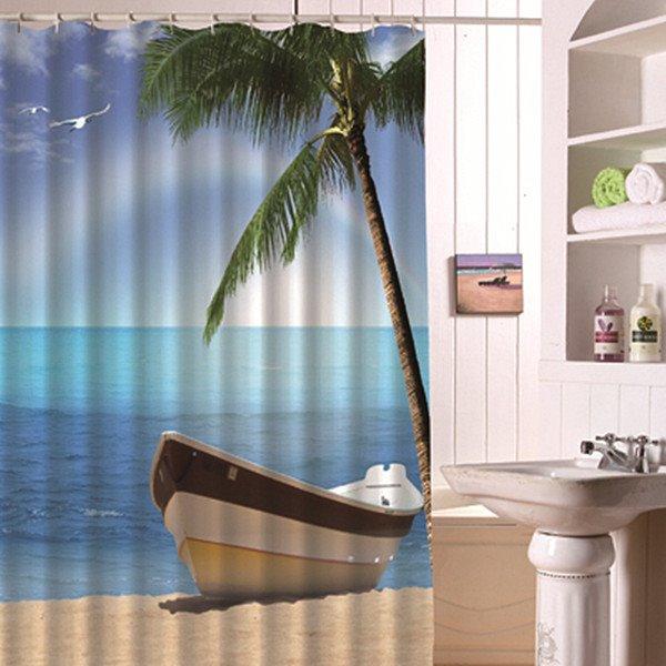 Showy Creative Beach Scenery 3D Shower Curtain