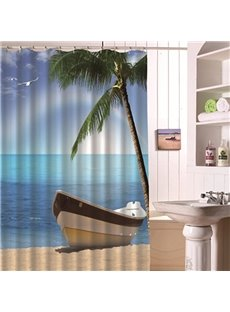 Showy Creative Beach Scenery 3D Shower Curtain