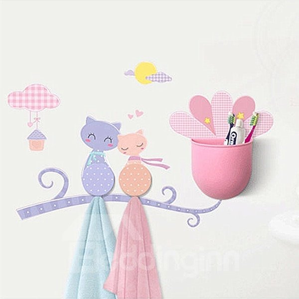 Creative Very Beautiful Cat Image Bathroom Hooks