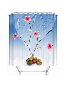 Unique Graceful Flower Stone Extra Long Shower Curtain