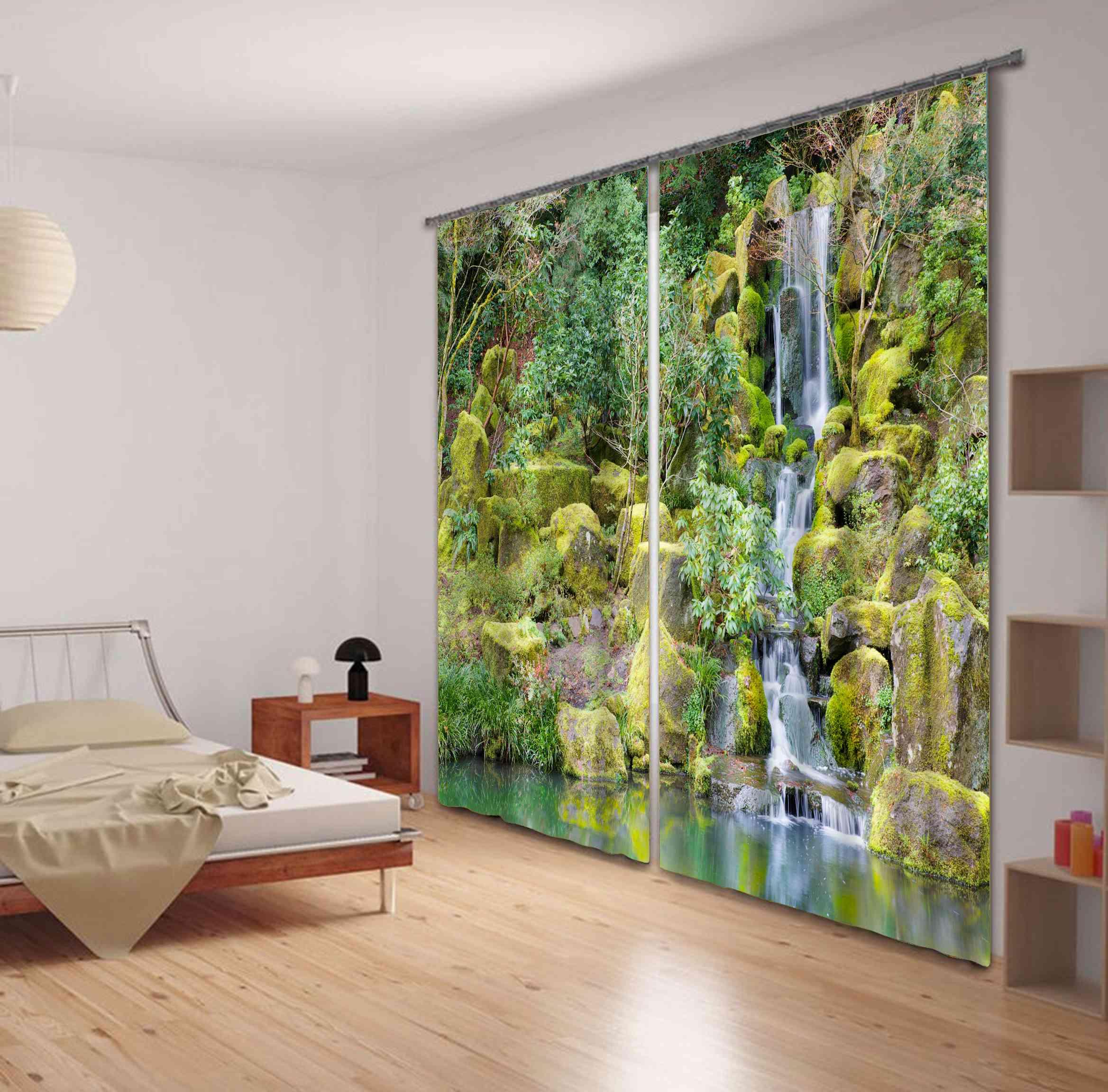 Wonderful Mountain Stream Print 3D Blackout Curtain