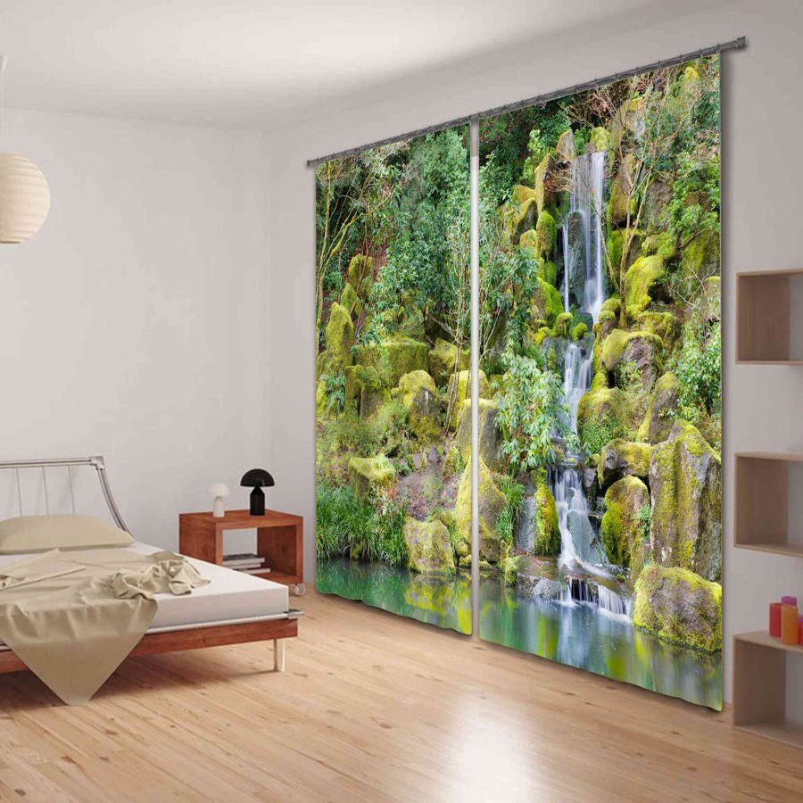 Wonderful Mountain Stream Print 3D Blackout Curtain