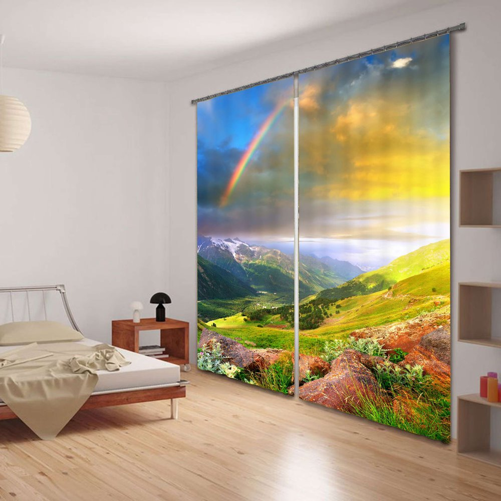 3d Beautiful Rainbow Printed Thick Polyester 2 Panels Pic