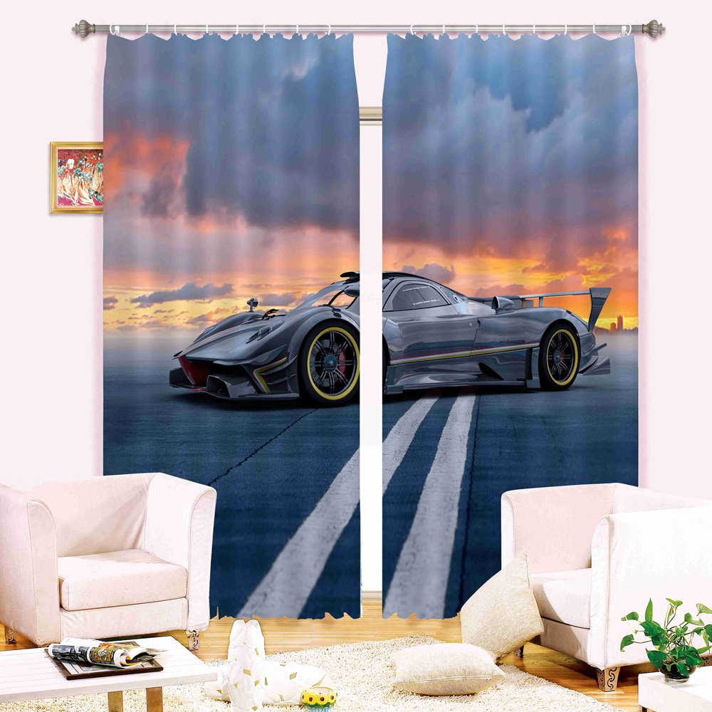Cool Racing Car Printing Living Room and Bedroom Decorative 3D Energy Saving Curtain