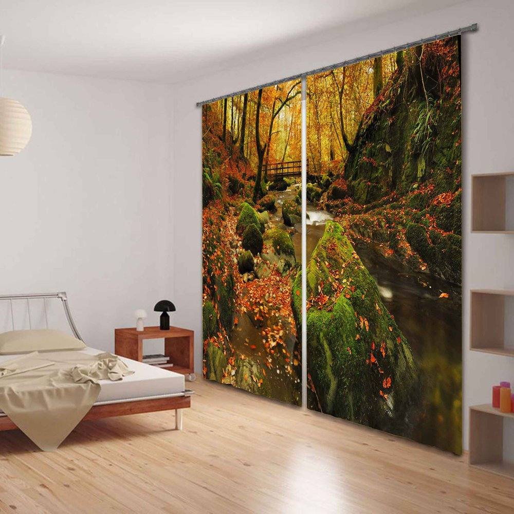 Shadowy Groves with Flowing Waterfalls Decorative and Blackout 3D Functional Curtain