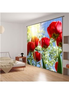 3D Gorgeous Red Flowers Thermal Insulation Curtain