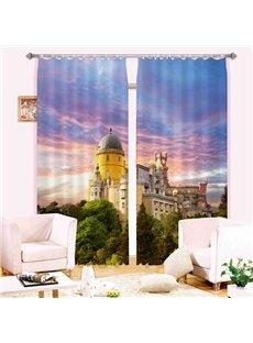 Versatile 3D Tower Print Energy Saving Curtain