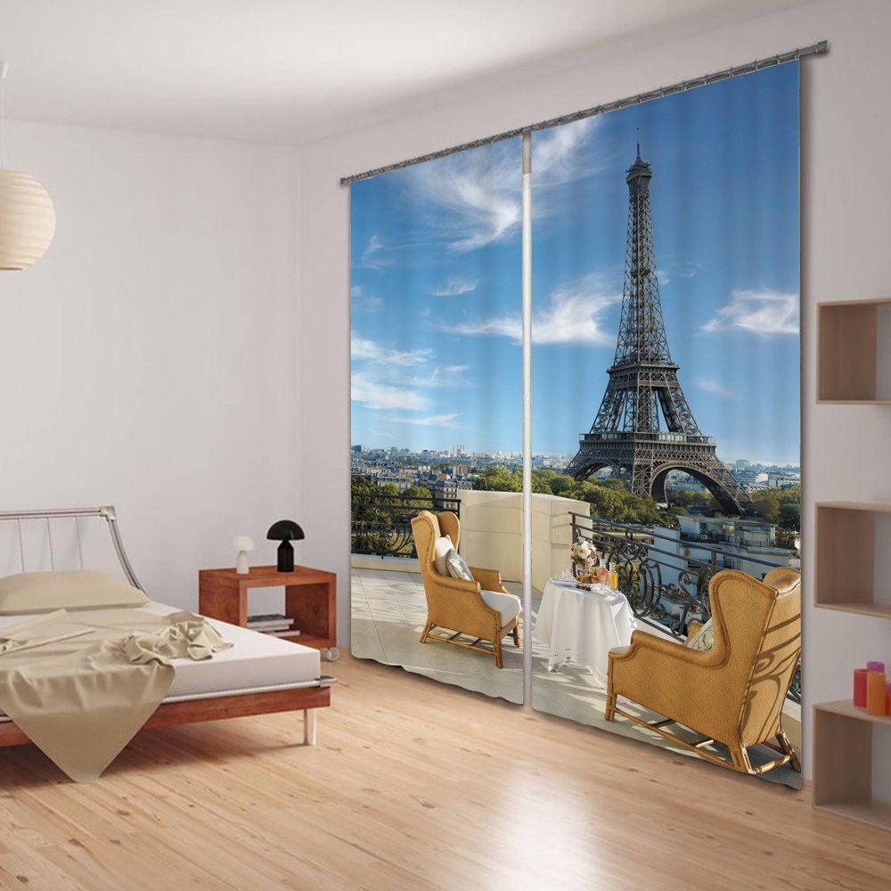 3D Eiffel Tower and Modern Chairs Printed Polyester Romantic Style Decorative Curtain