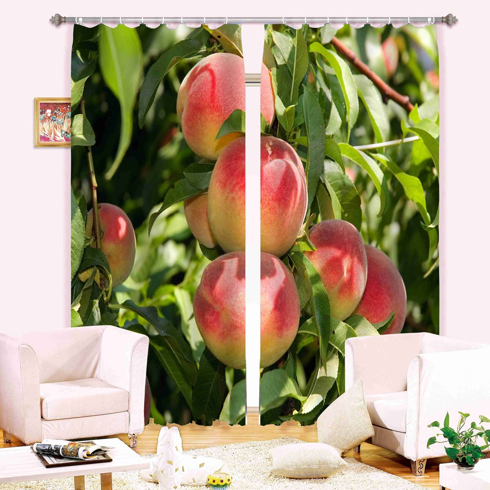 Vivid Peaches Print Light Blocking Curtain