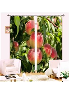 Vivid Peaches Print Light Blocking Curtain