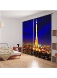 Eiffel Tower at Night 3D Printing Energy Saving Curtain