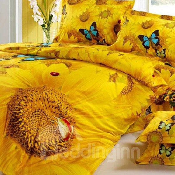 Bright Romantic Sunflowers Butterflies Print Fitted Sheet