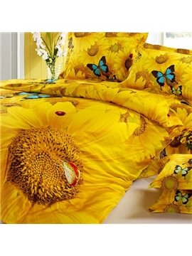 Bright Romantic Sunflowers Butterflies Print Fitted Sheet