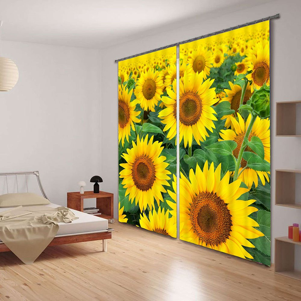Refreshing Sunflowers 3D Digital Printing  Curtain
