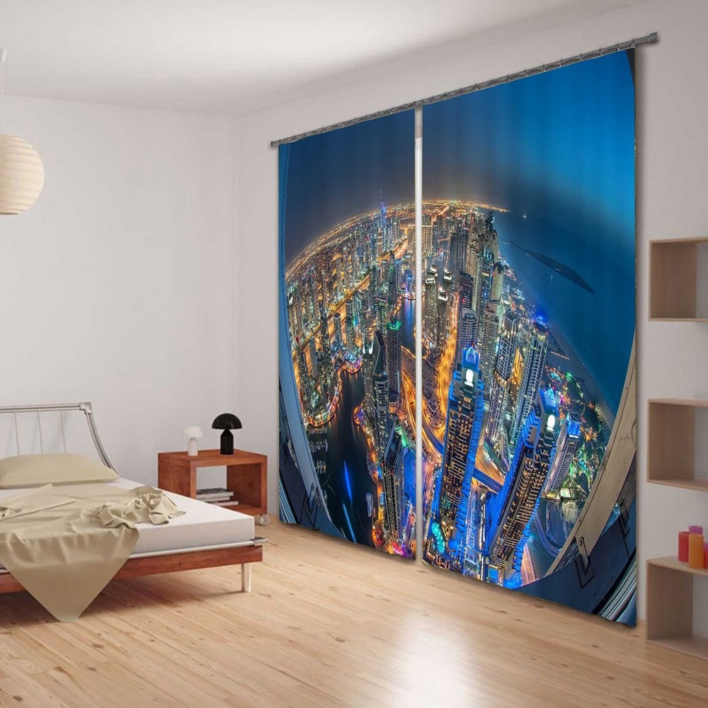 Blackout and Decorative City Night Scenery Printing Modern City 2 Panels Curtain