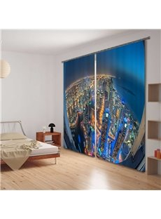 City Bird View 3D Digital Printing Blackout 2 Panels Curtain