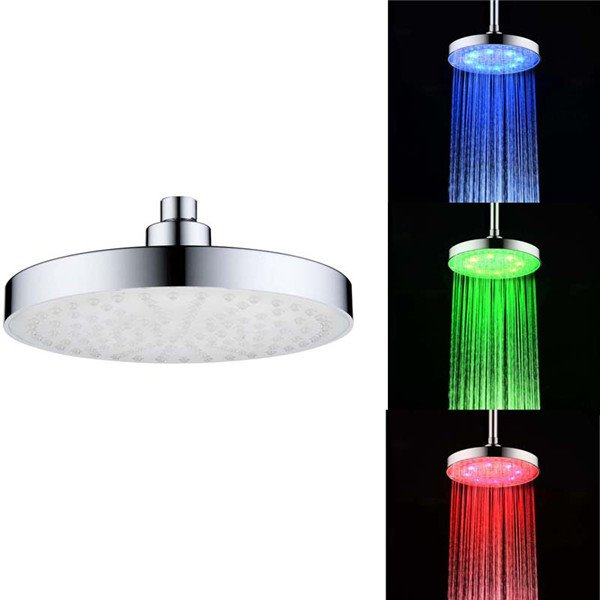 "8"" Temperature Sensitive LED Color Changing Shower Head"