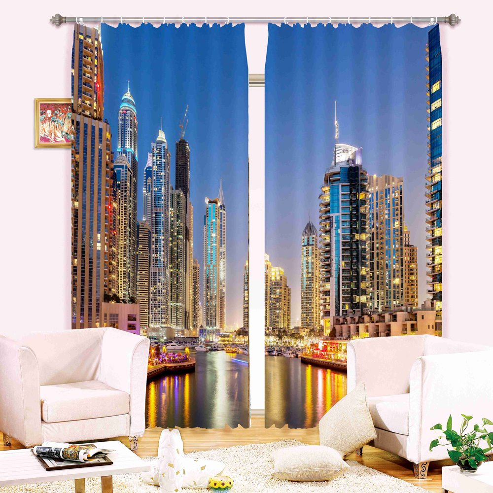 City Night Skyscrapers Wonderful Scenery 3D Digital Printing Blackout Curtain