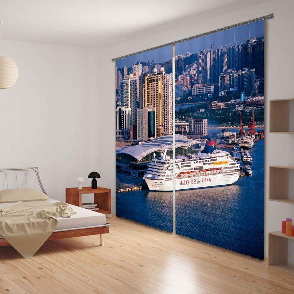 Coastal City Scenery 3D Digital Printing Living Room Custom Curtain