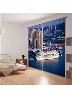 Coastal City Scene 3D Digital Printing Blackout Curtain