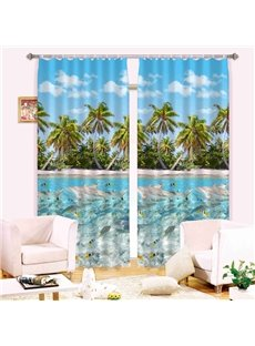 Summer Refreshing Beach Printing 3D Curtain