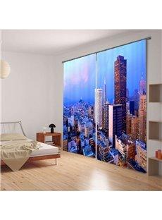 Beautiful Morning Urban Scenery Blackout 3D Curtain