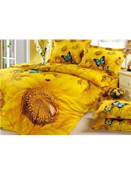 Mysterious Bright Sunflowers Butterflies Yellow Cotton Bed Skirt