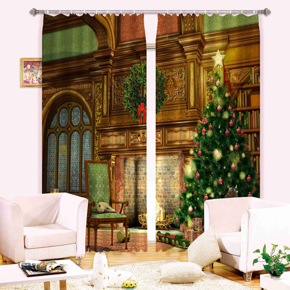 Christmas Theme Decor Tree Printing 3D Polyester Curtain