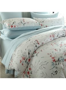 Pastoral Concise Style Birds Red Flower 4-Piece Duvet Cover Sets