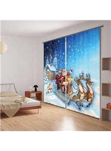 Santa Claus Print Polyester 3D Blackout Curtain
