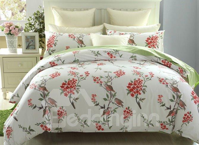 European Pastoral Style Birds Red Flower 4-Piece Cotton Duvet Cover Sets