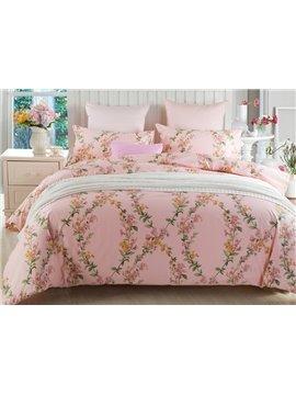 Romantic Graceful Vine Print Pink Cotton 4-Piece Duvet Cover Sets