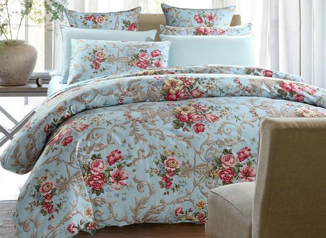 Deluxe Graceful Floral Cotton Blue 4-Piece Duvet Cover Sets