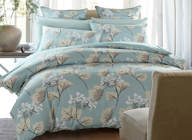 Concise Elegant Gingko Print Cotton Blue 4-Piece Duvet Cover Sets
