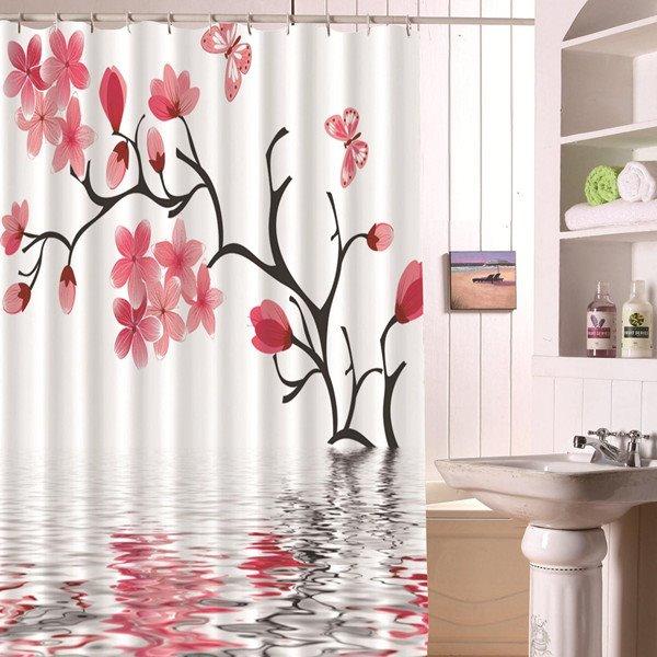 Novel Fashion Peach Blossom 3D Bathroom Shower Curtain