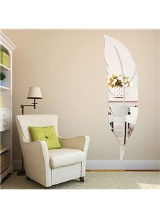 Original Fantastic Decorative Acrylic Mirror Feather Shape 3D Wall Sticker