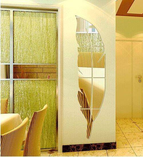 Original Fantastic Decorative Acrylic Mirror Feather Shape 3D Wall Sticker