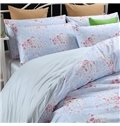 Comfy Graceful Pink Rose Cotton Blue 4-Piece Duvet Cover Sets