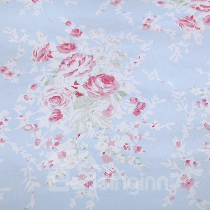 Comfy Graceful Pink Rose Cotton Blue 4-Piece Duvet Cover Sets