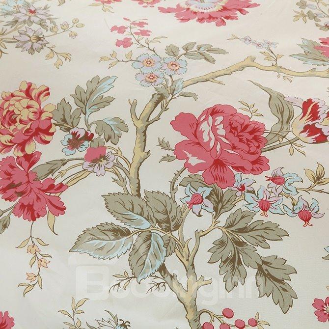 Cozy Magnificent Begonia Print 4-Piece Duvet Cover Sets