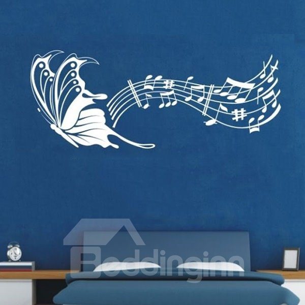 Wonderful Musical Notes and Flying Butterfly Wall Sticker