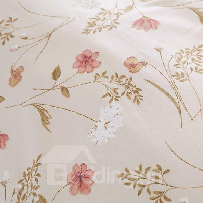Top Class Pink Floral Cozy 100% Cotton 4-Piece Duvet Cover Sets