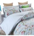 Top Grade Fresh Pastoral Floral Branch 100% Cotton 4-Piece Duvet Cover Sets