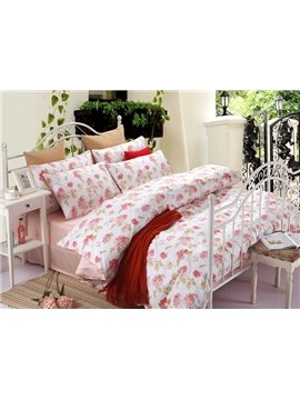 Fancy High Grade Pink Flower 100% Cotton 4-Piece Duvet Cover Sets