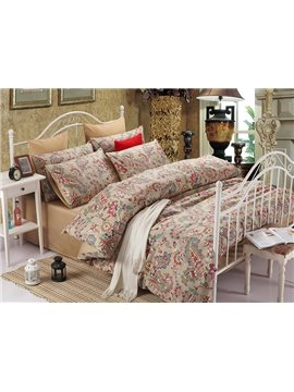 Upscale European Jacquard Full Cotton Brown 4-Piece Duvet Cover Sets