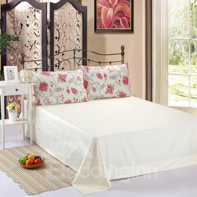High-end Graceful Red Floral 100% Cotton 4-Piece Duvet Cover Sets