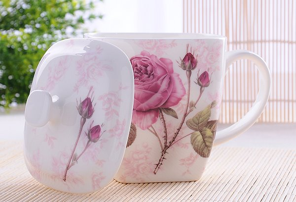 Lovely Romantic Blossom Rose on Branch Bone China Coffee Mug