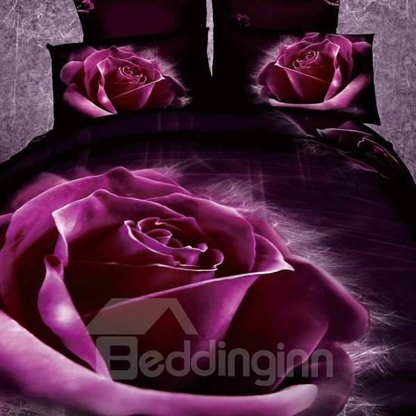 Purple Roses Print 2-Piece Pillow Cases