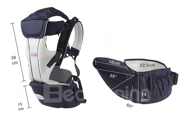 Safe Comfortable Multi Functional Light Blue Cotton Baby Carrier